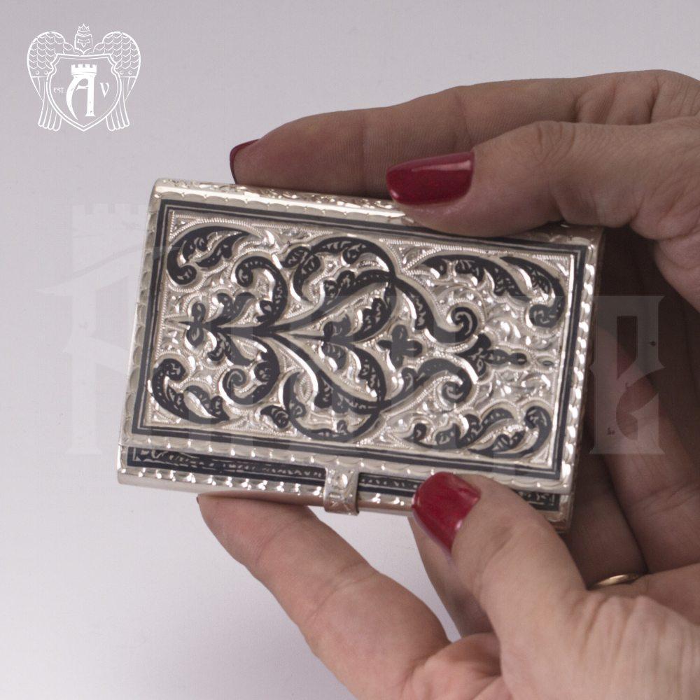 Визитница серебряная и ручка «Графика» Апанде, 11100336