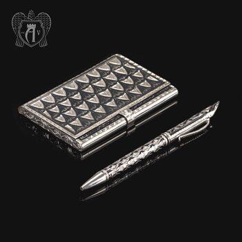 Визитница серебряная и ручка «Графика»