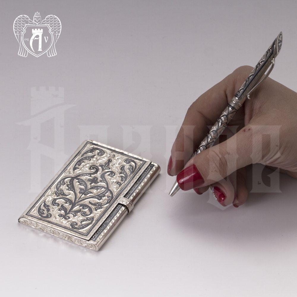 Визитница серебряная и ручка «Падишах» Апанде, 111003238
