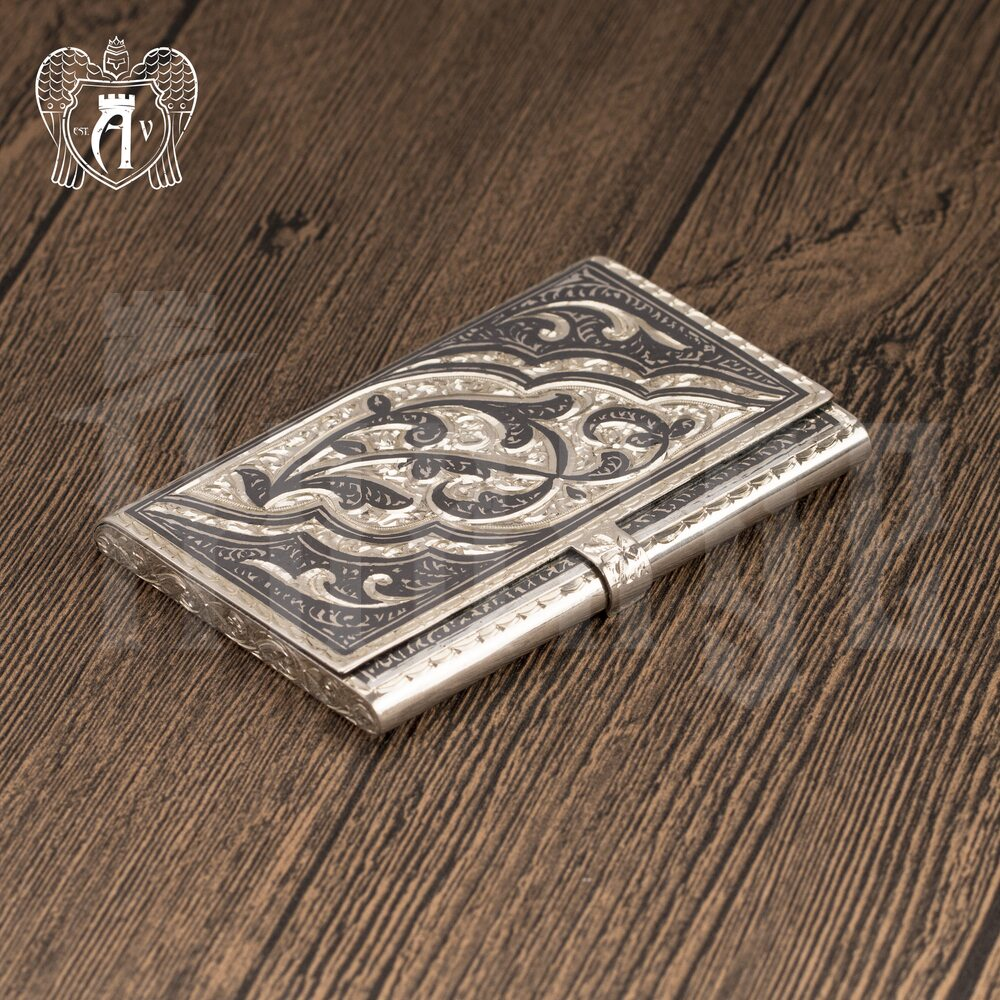 Визитница серебряная и ручка «Симфония» Апанде, 111003239