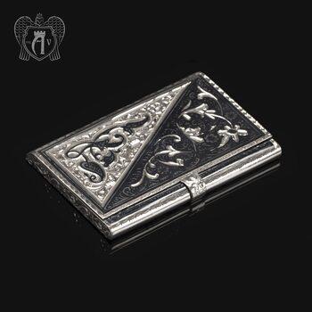 Визитница серебряная и ручка «Инь-Янь»