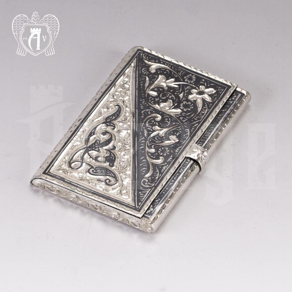 Визитница серебряная и ручка «Инь-Янь» Апанде, 91003240