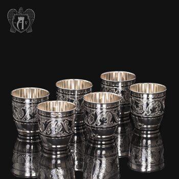 Набор  стаканов из серебра 925 пробы «Виноград»