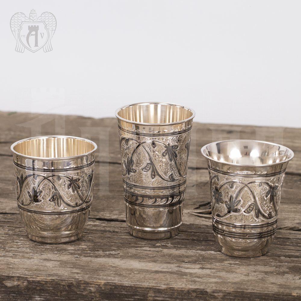 Набор  стаканов из серебра 925 пробы «Виноград» Апанде, 71000441