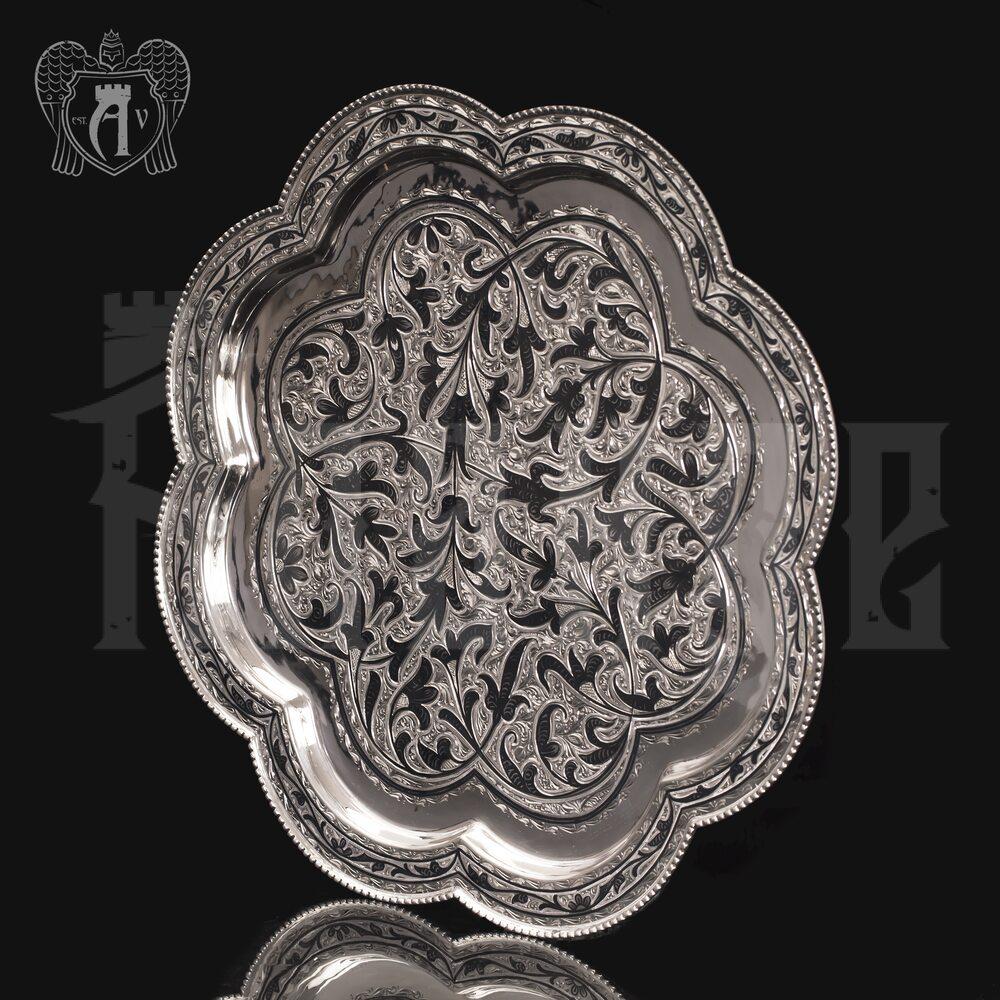 Серебряный поднос «Цветок» Апанде, 7700011