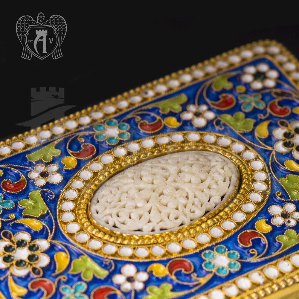 Серебряный портсигар с эмалью «Атлант» Апанде, 53000193