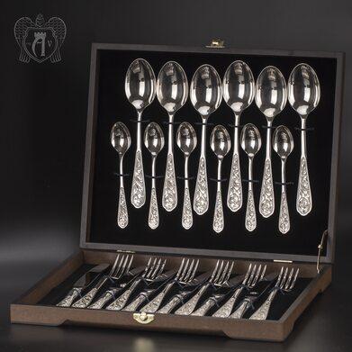 Десертный набор столовых  приборов  из серебра «Виноградная лоза» 24 предмета без черни