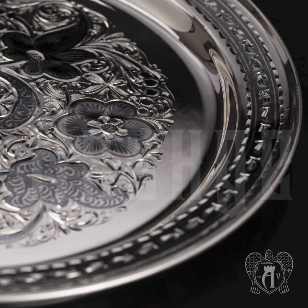 Поднос и серебра 925 пробы «Краса Востока» Апанде, 7700012