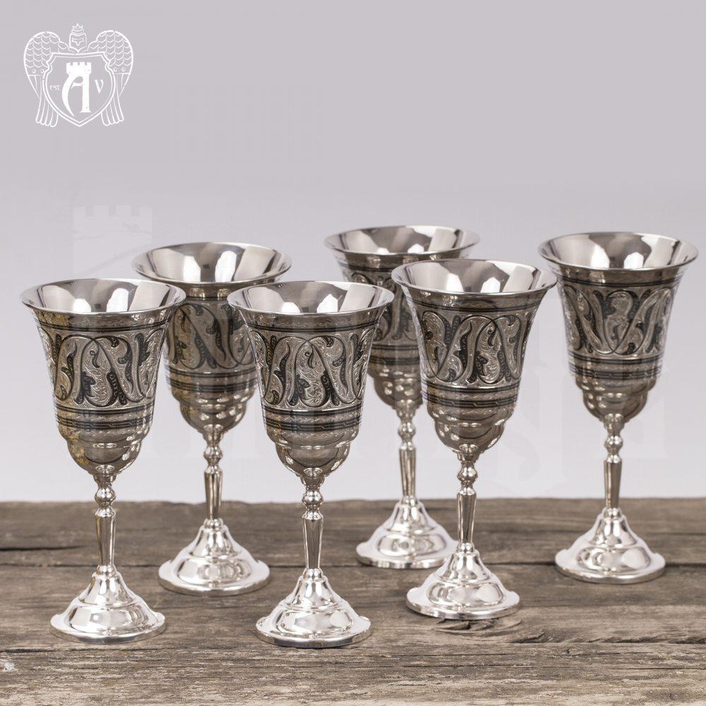 Серебряные фужеры «Торжество» набор 6 шт Апанде, 3800403-7