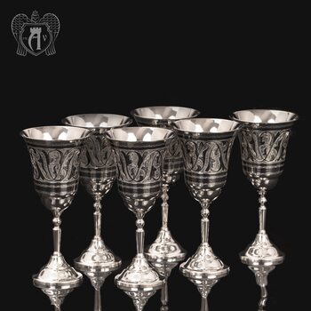 Серебряные фужеры «Торжество» набор 6 шт