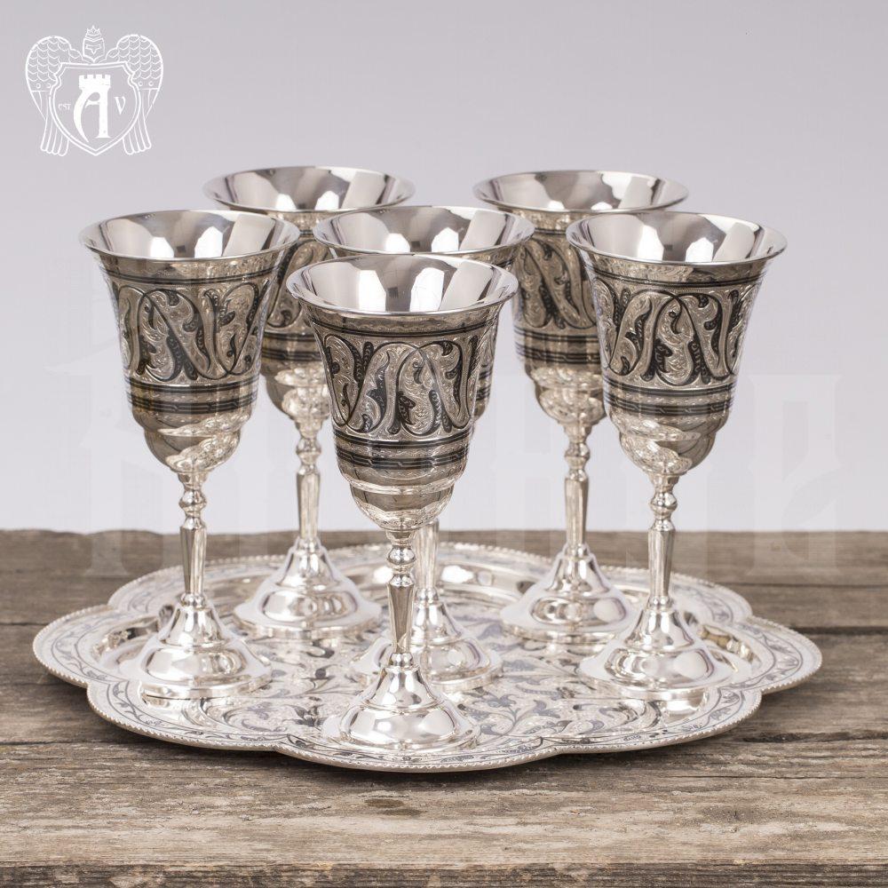 Серебряные фужеры «Торжество» с подносом Апанде, 38004015