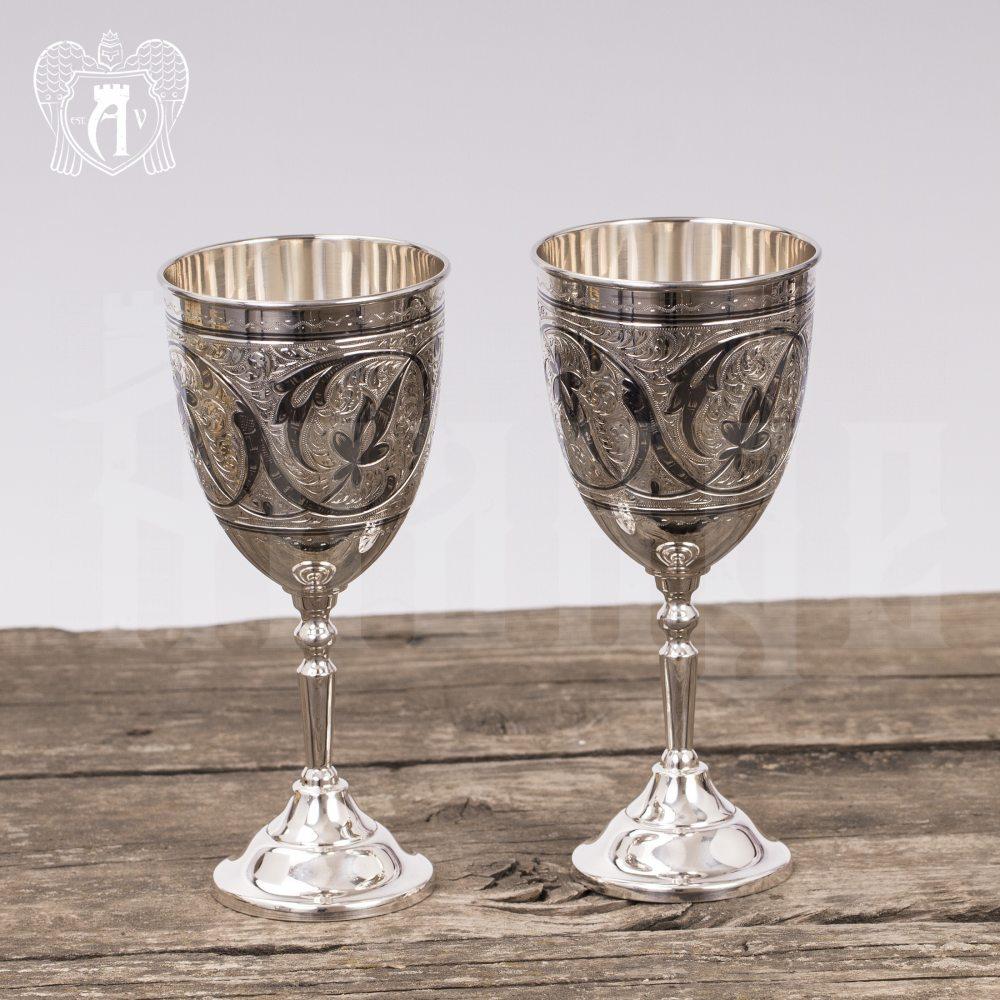 Серебряные бокалы»Roederer» набор 6 шт с подносом Апанде, 38004018