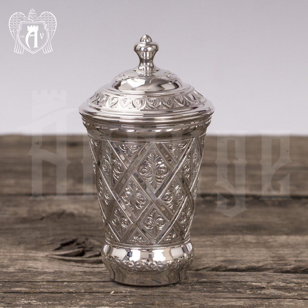 Стакан из чистого серебра»Источник жизни» 999 пробы с крышкой Апанде, 71000505