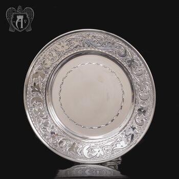 Тарелка «Розалия» из чистого серебра 999 пробы