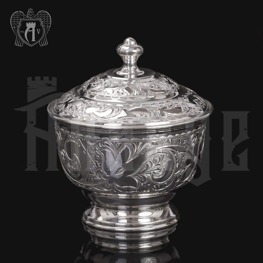 Сахарница  «Розалия» из чистого серебра 999 пробы Апанде, 3800011