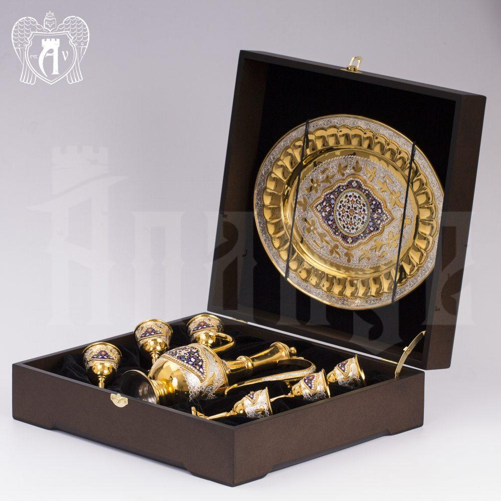Коньячный сервиз из серебра с горячей эмалью «Дворцовый» Апанде, 11100537