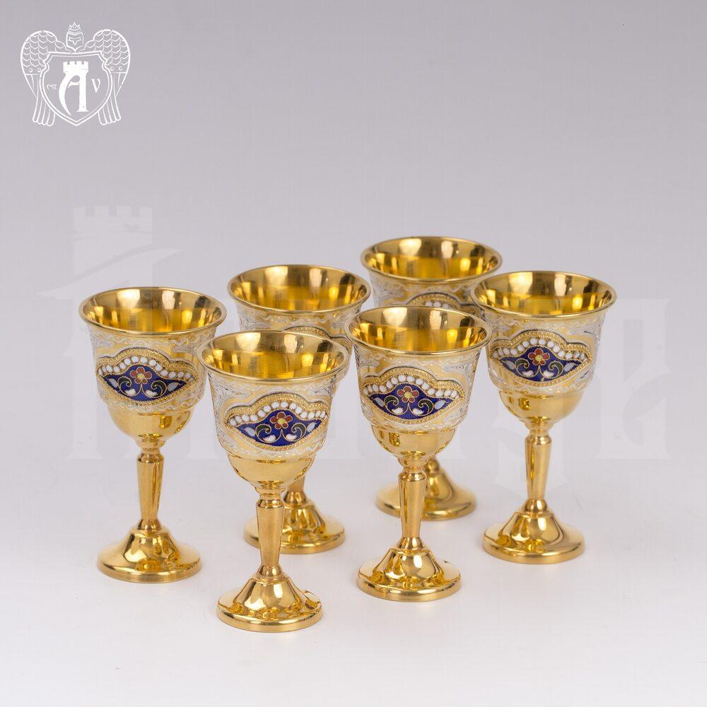 Набор серебряных рюмок с позолотой и эмалью  «Дворцовый» Апанде, 75000184