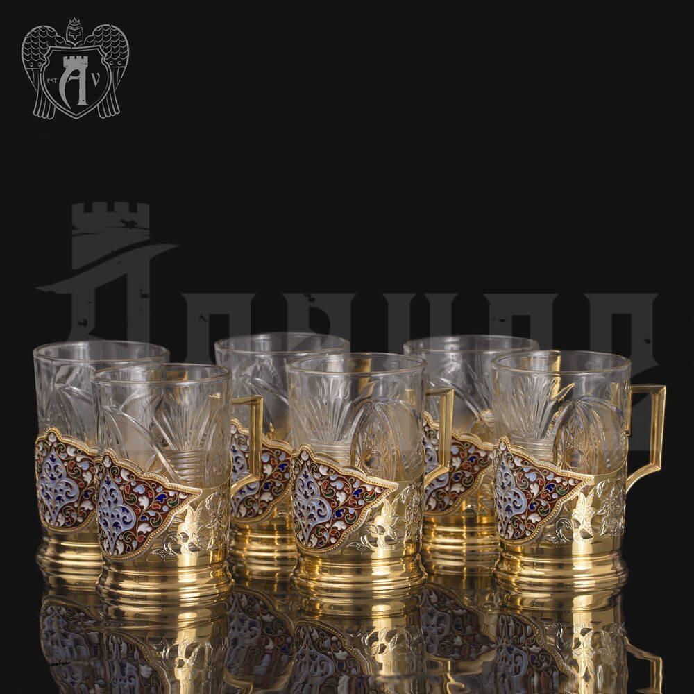 Набор подстаканников из  серебра «Королевский» Апанде, 8800300