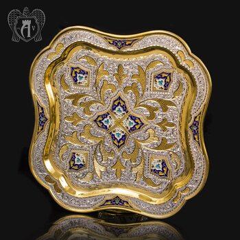 Серебряный поднос «Посольский» с позолотой