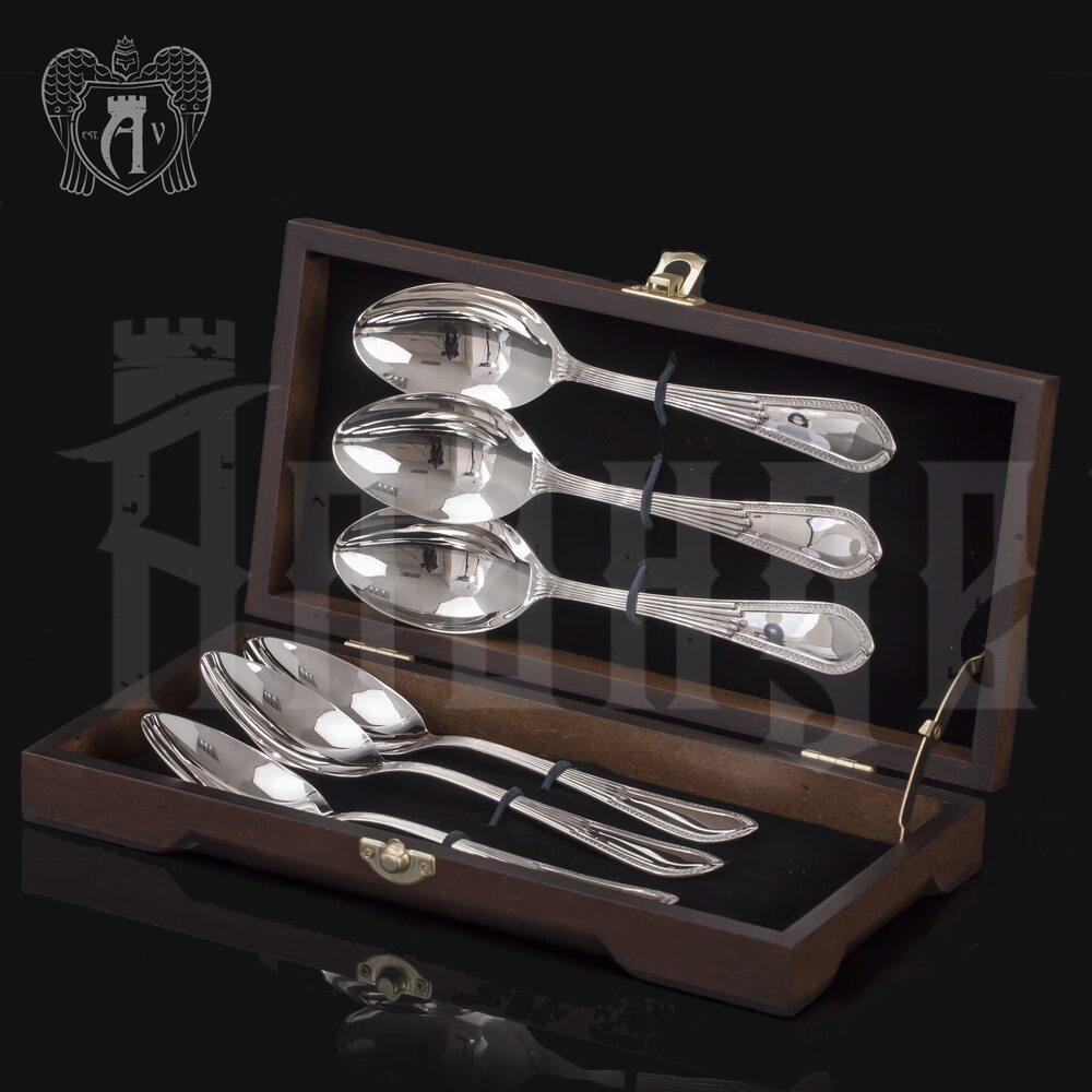 Набор десертных ложек из серебра на 6 персон «Элегант» 6 предметов Апанде, 22000227