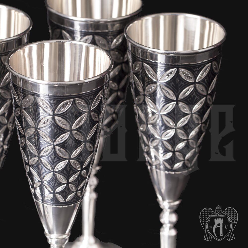 Набор бокалов из серебра «Готика»  6 шт Апанде, 3800403-10