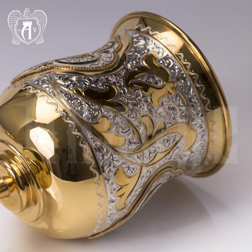 Еврейский кубок «Киддуш» с блюдцем из серебра с позолотой Апанде, 3800403-12