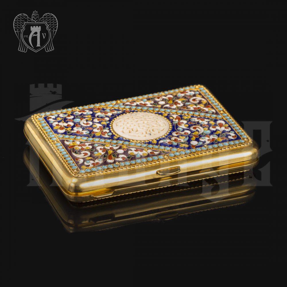Серебряный портсигар с эмалью «Аристократ» Апанде, 53000194