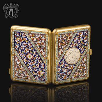 Серебряный портсигар с эмалью «Аристократ»