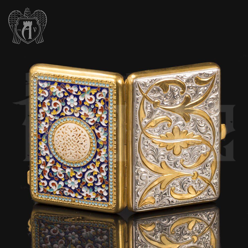Серебряный портсигар с эмалью «Аристократ 2» Апанде, 53000195