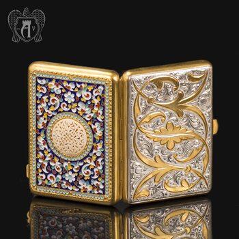 Серебряный портсигар с эмалью «Аристократ 2»