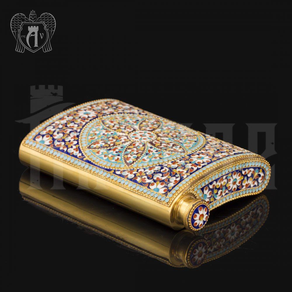 Серебряная фляжка  «Гелиос» с позолотой и эмалью Апанде, 720001100