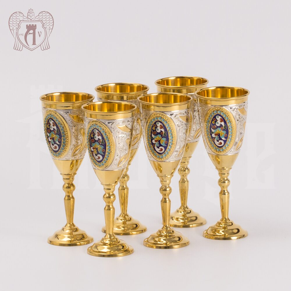 Набор серебряных рюмок с позолотой и эмалью  «Империал» Апанде, 75000186