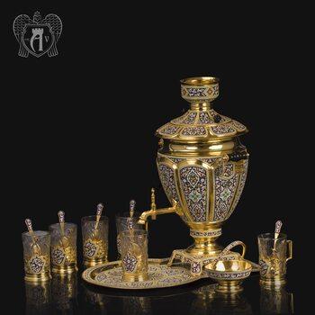 Чайный сервиз из серебра - самовар с подстаканниками на подносе «Царский»