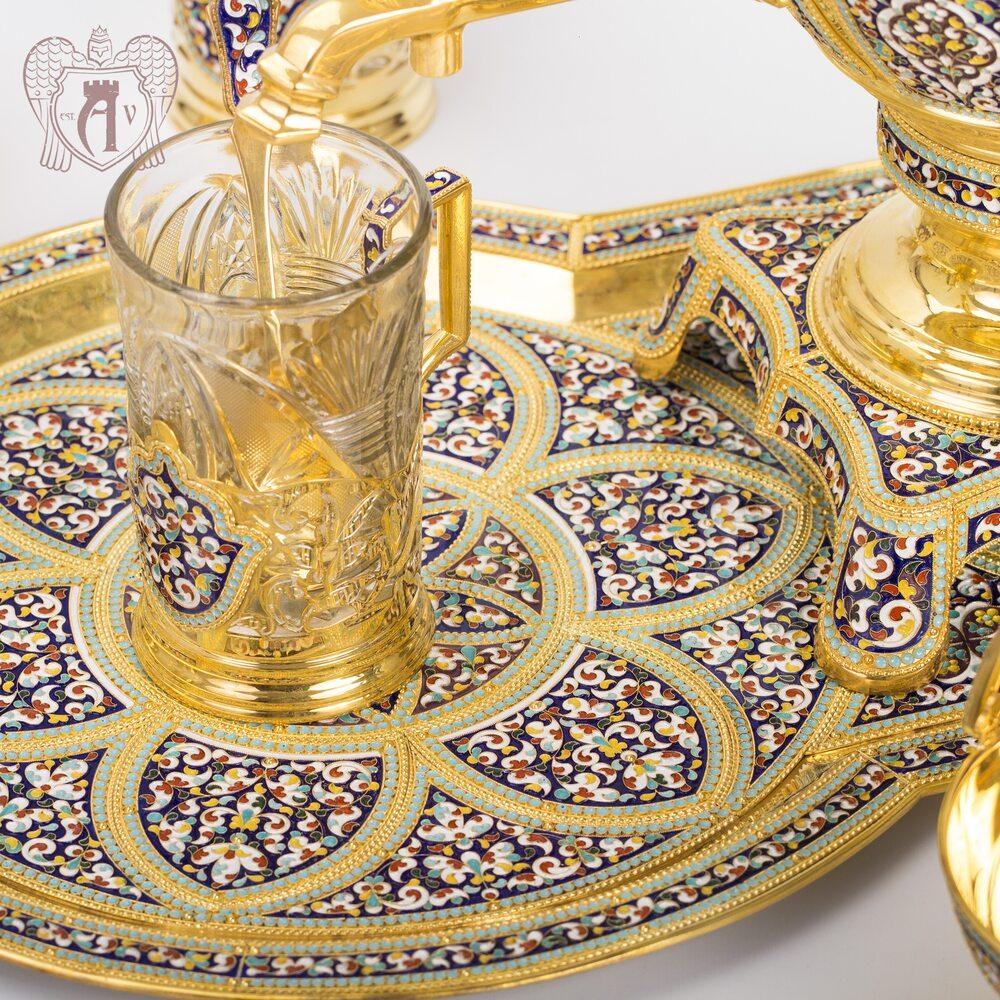 Чайный сервиз из серебра - самовар с подстаканниками на подносе «Царский» Апанде, 940004