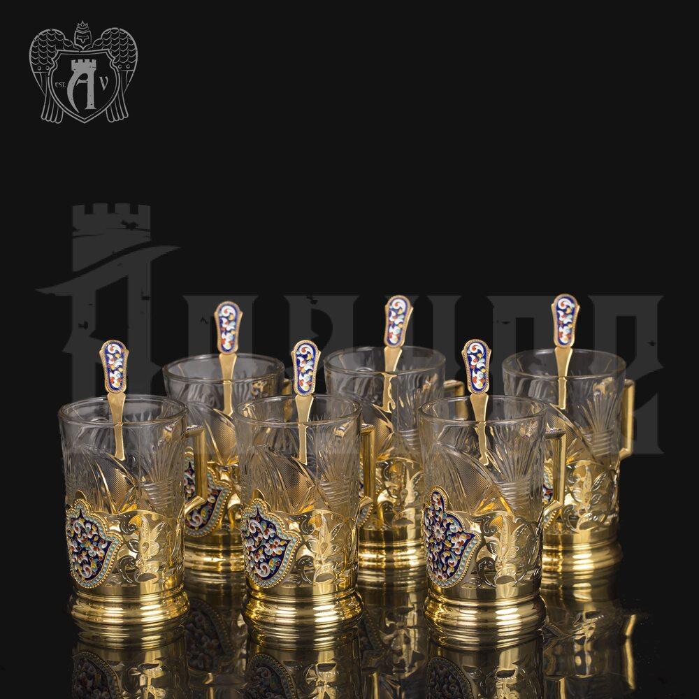 Набор подстаканников из  серебра «Царский» с ложками Апанде, 8800301
