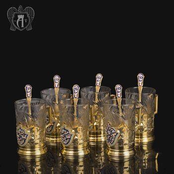 Набор подстаканников из  серебра «Царский» с ложками