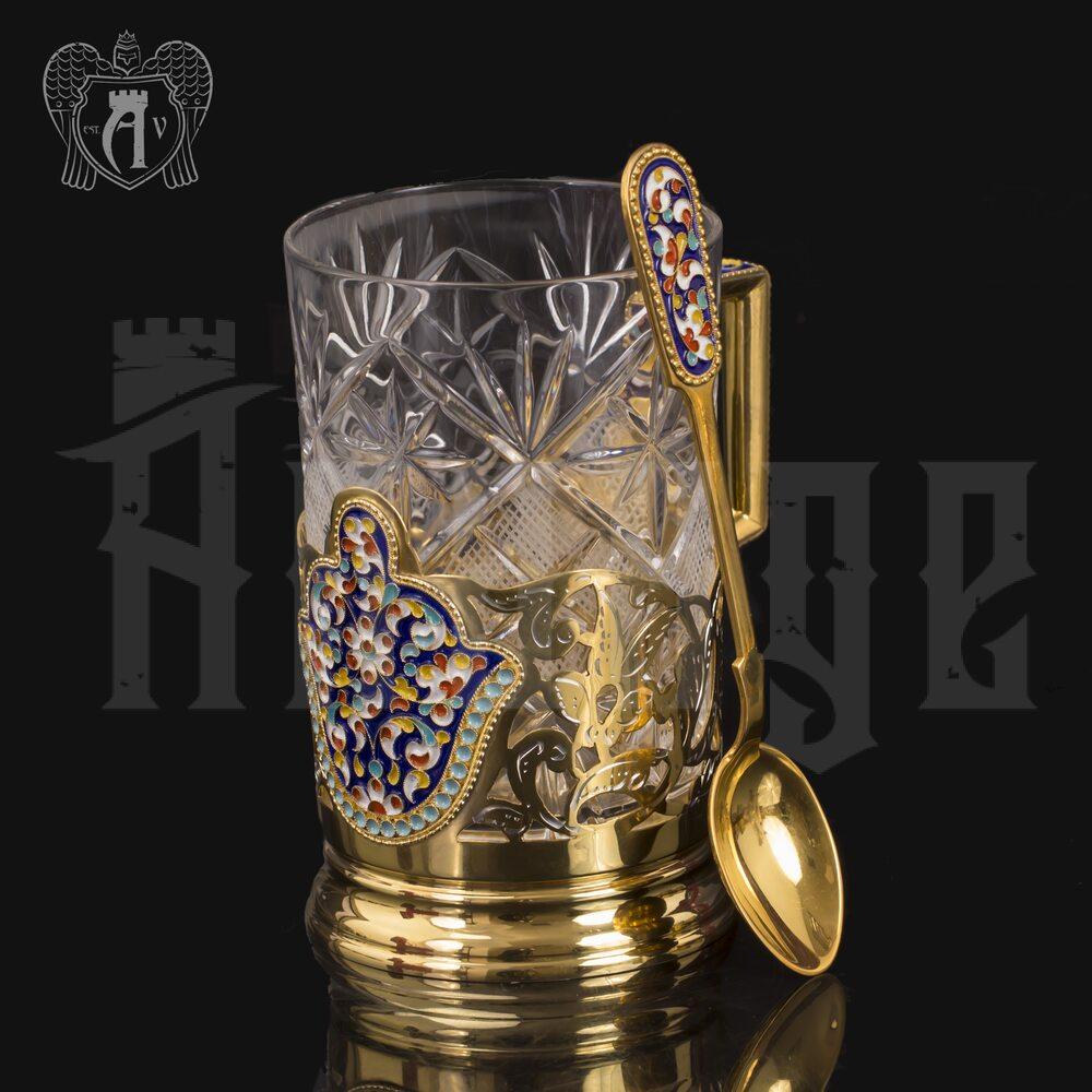 Подстаканник из серебра с эмалью «Царский» с ложкой Апанде, 88000116