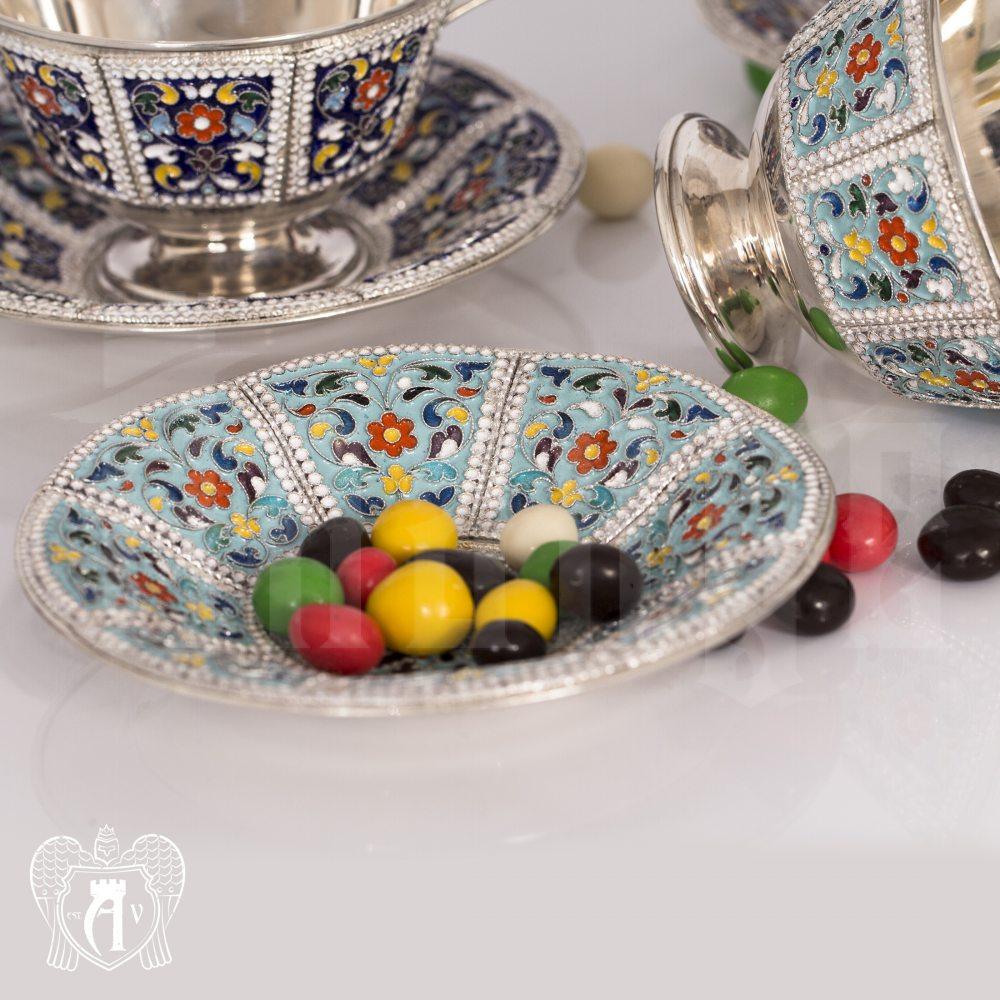 Серебряная чайная пара «Калейдоскоп» с эмалью Апанде, 32009127
