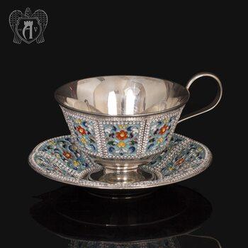 Серебряная чайная пара «Калейдоскоп» с эмалью