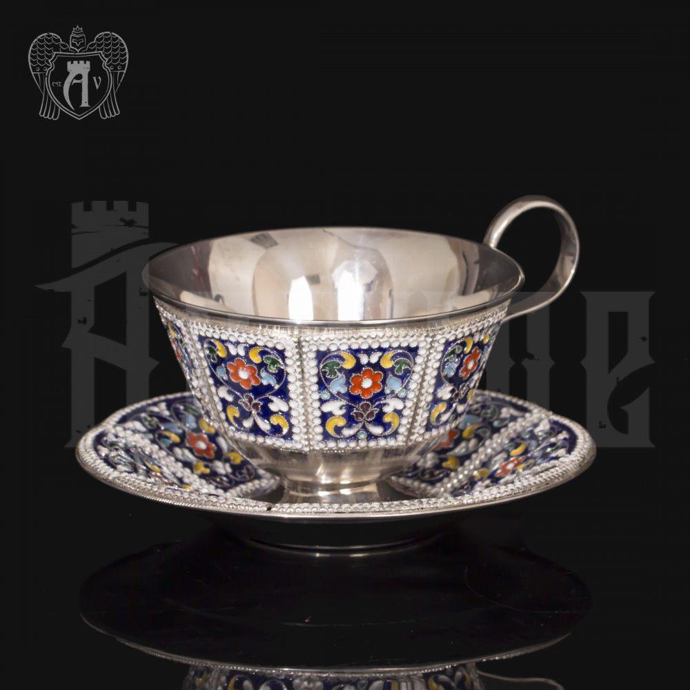Серебряная чайная пара «Калейдоскоп-2» с эмалью Апанде, 32009128