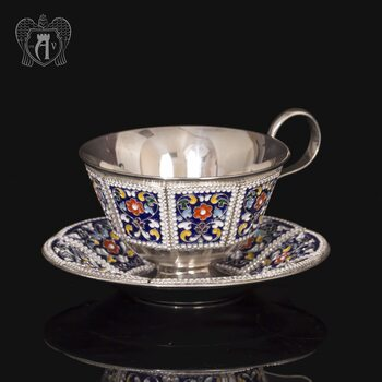 Серебряная чайная пара «Калейдоскоп-2» с эмалью