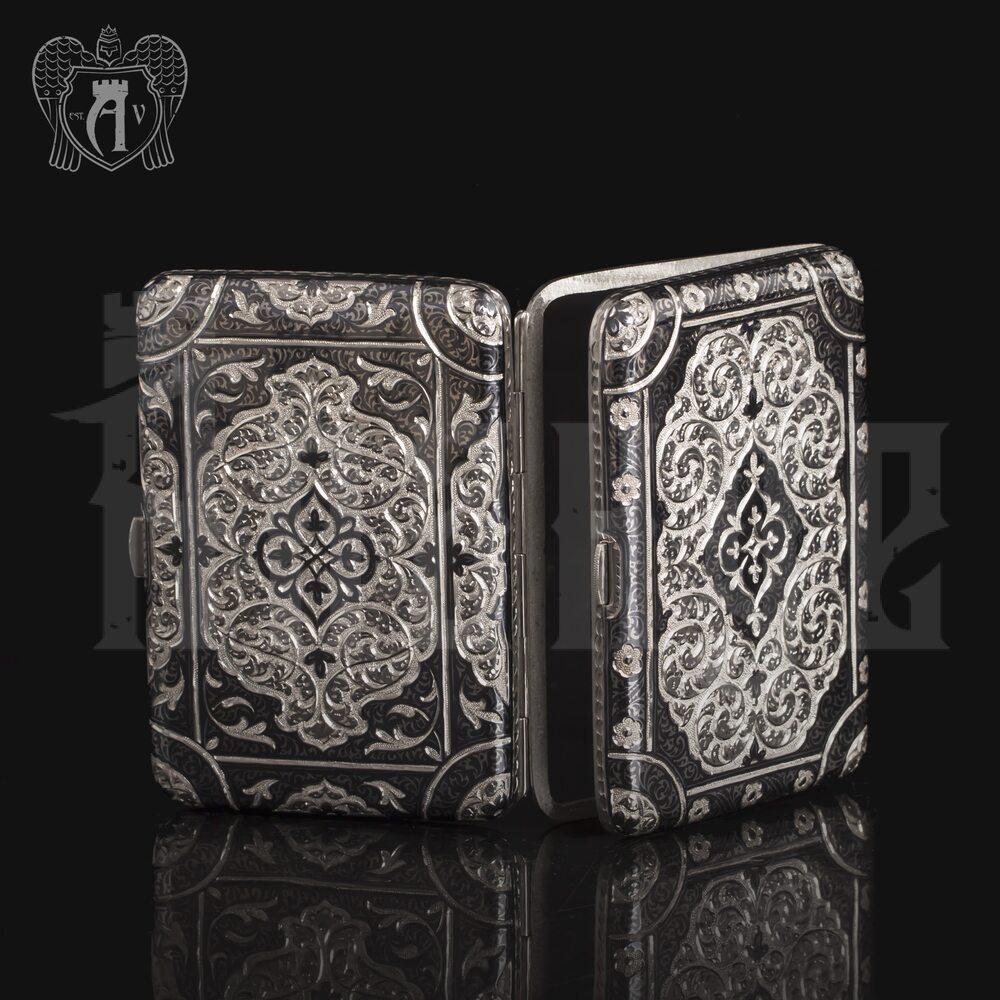 Портсигар из серебра «Канцлер» двусторонний Апанде, 53000569