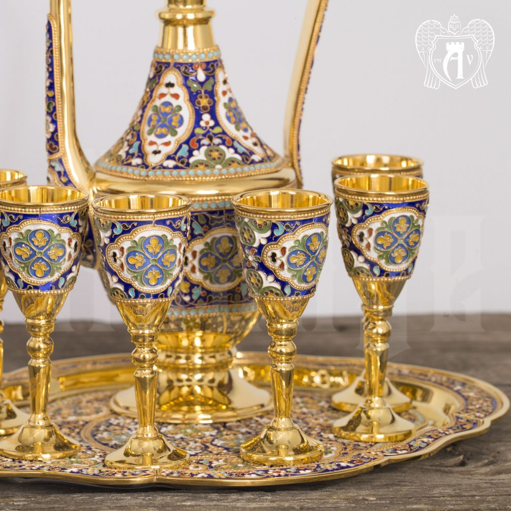 Набор серебряных рюмок с позолотой и эмалью  «Сильмариллион» Апанде, 75000174