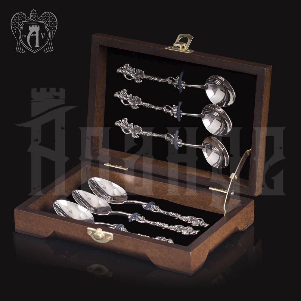 Кубачинские чайные ложки ручной работы «Плющ» комплект 6 шт Апанде, 24000210-15
