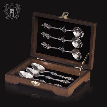 Кубачинские чайные ложки ручной работы «Плющ» комплект 6 шт