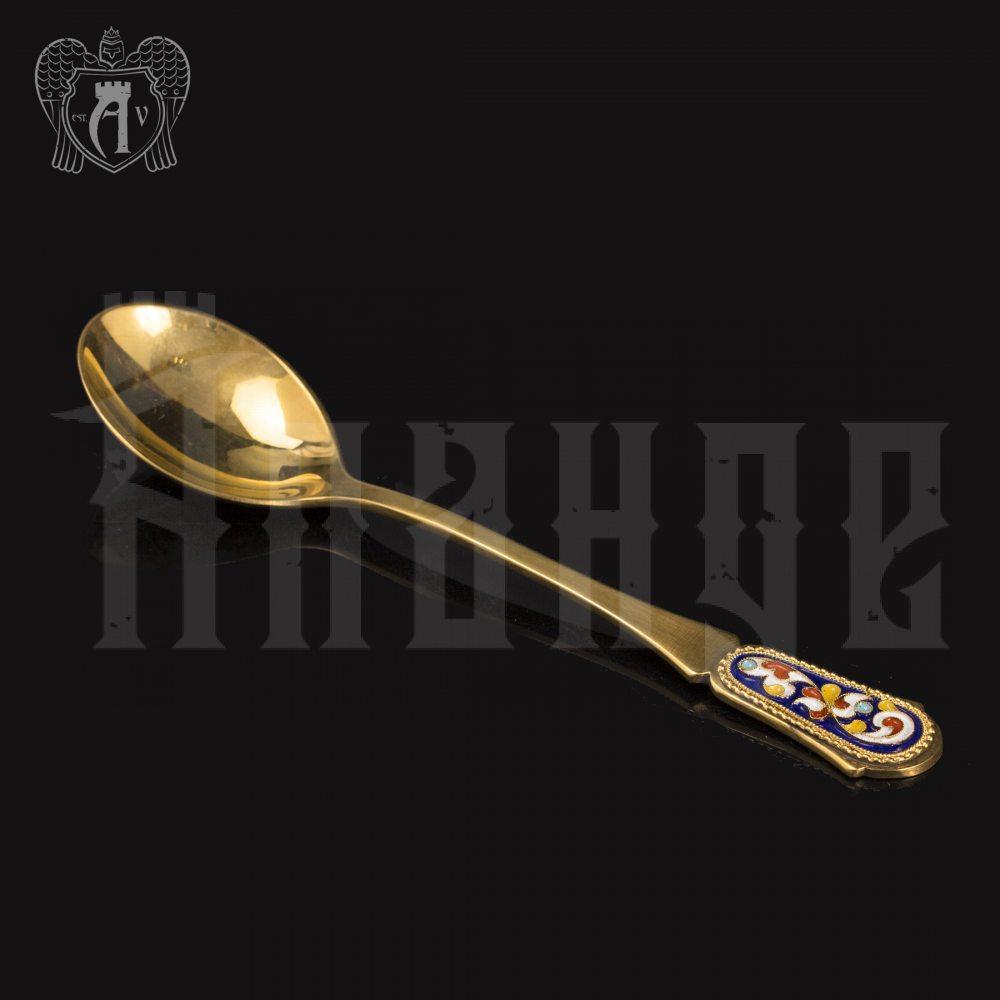 Серебряные чайные ложки с эмалью «Царская» комплект 6 шт Апанде, 24000210-17