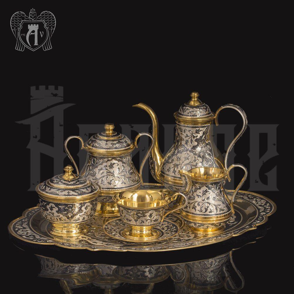 Серебряный сервиз чайный «Ампир»  Апанде, 111049253