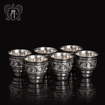Набор серебряных стопок «Барон»  6 шт