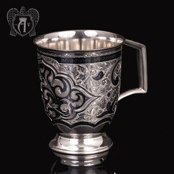 Большая кружка из серебра для напитков  «Эдельвейс»