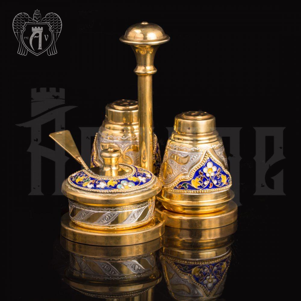 Серебряный набор для специй серия «Императрица» с золочением и эмалью Апанде, 980002
